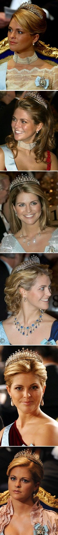 The mordern fringe tiara has been worn by princess Madeleine many times at the nobels  photo 1; nobel 2002  photo 2; nobel 2003  photo 3; nobel 2005  photo 4; nobel 2006  photo 5; nobel 2007  photo 6; nobel 2008