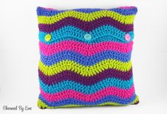 "Crochet Ripple Pillow Cover (16"") 
