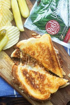 Sloppy Joe Grilled Cheese Sandwiches - homemade sloppy joes stuffed in a melty grilled cheese!