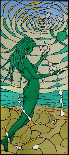 nude stained glass :Déesse de la mer/Sea-Goddess