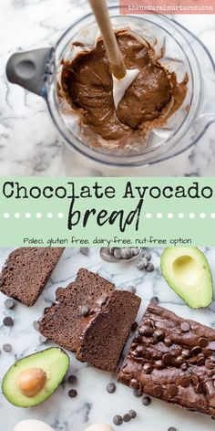Perfectly moist and slightly sweet this Chocolate Avocado Bread is naturally gluten free, dairy-free, Paleo, and has an easy nut-free option! Avocado Dessert, Paleo Dessert, Bbq Dessert, Healthy Dessert Recipes, Healthy Treats, Real Food Recipes, Paleo Veggie Recipes, Diet Recipes, Gluten Free Desserts
