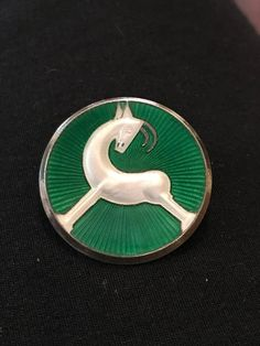 Vintage J Tostrup Norway Sterling Guilloche Enamel Art Deco Antelope Pin Scandinavian Modern, Norway, Modern Design, Give It To Me, Art Deco, Enamel, Buttons, Jewels, Metal
