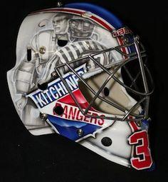 strait line down the helmet Montreal Canadiens, Goalie Mask, Player One, Hockey Goalie, Brandon Maxwell, Masked Man, Nhl, Football Helmets, Ranger