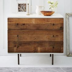 Reclaimed Wood + Lacquer 3-Drawer Dresser | West Elm.  there's a storage version with 6 drawers in the catalog
