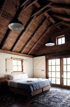 All I Need is a Little Cabin in the Woods (24 Photos) - Suburban Men Barn Bedrooms, Home Bedroom, Dark Interiors, Rustic Interiors, Design Interiors, Interior Design, Cabin In The Woods, Little Cabin, Bedroom Ceiling