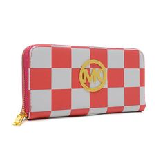 Perfect Michael Kors Checkerboard Large Pink Wallets, Perfect You