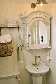 ♕ old clock turned into bathroom cabinet ~ brilliant upcycle idea--wish I could do that in MY cottage!