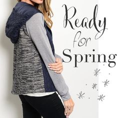 "Navy & Grey jacket Lightweight Versatile navy and grey jacket with hood. Great for weekend wear, running errands, or to the gym. Polyester/cotton blend. quilted front and marled grey back. Sizes Small: 17"" pit to pit. 24"" long. Medium: 18"" pit to pit. 25"" long. Large: 19"" pit to pit. 26"" long.  ☀️15% off bundles for new buyers. ☀️25% off bundles for frequent buyers CupofTeaBoutique Jackets & Coats"