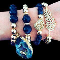 Set By Vila Veloni Dark Blue And Gold Leaf Bracelets