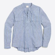 J.Crew+Factory+-+Striped+lace-up+shirt