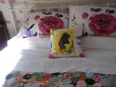 Bluebellgray bedding with vintage patchwork quilt