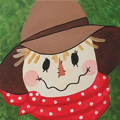 Scarecrow - After School Jr. Social Artworking on Wednesday, November 7 2018 Canvas Painting Designs, Fall Canvas Painting, Autumn Painting, Canvas Designs, Autumn Art, Painting For Kids, Rock Painting, Canvas Ideas, Acrylic Paintings