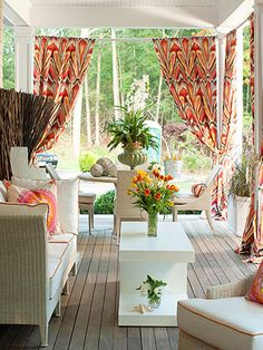 Outdoor spaces - bright curtains