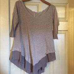 Kimchi Blue Tiered Top Oatmeal cotton tunic with almost-sheer 2nd layer that is more of a taupe color. Free-flowing. Buttons up the back and 1/2- 3/4 length sleeves. Size medium. Urban Outfitters Tops Tunics