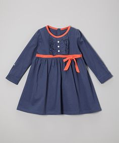 Loving this Navy & Coral Organic A-Line Dress - Toddler & Girls on #zulily! #zulilyfinds