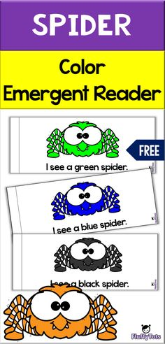 Spider Color Emergent Reader introduces 8 color words with bright big colored spiders. Great for read aloud for toddlers and for preschooler and preK to learn Kindergarten Reading, Preschool Kindergarten, Color Words Kindergarten, Preschool Centers, Pre K Activities, Reading Activities, Fall Preschool, Preschool Weather, Toddler Preschool