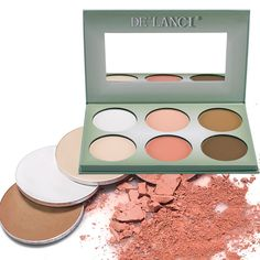 DE'LANCI Pro 6 Colors Powder Contour Palette Wam Color Face Foundation Highlighting Contouring Makeup Palette Coverage Camouflage Concealer Highlighter Kit Make Up Set with Mirror - Gift Set *** You can find out more details at the link of the image.