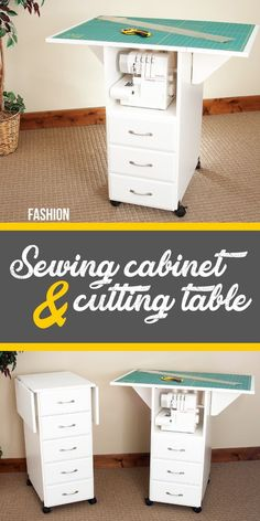 Sewing Fabric Storage This collapsible, portable craft, sewing cutting table and sewing cabinet is perfect for organizing small sewing rooms. The seamstress fabric, cloth cutting table is foldable with 3 sewing drawers in the front Craft Room Storage, Sewing Room Storage, Sewing Room Organization, Diy Storage, Fabric Storage, Storage Drawers, Storage Shelves, Craft Rooms, Storage Organization
