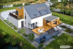 Zdjęcie projektu Nils II energo plus Best Modern House Design, Modern Exterior House Designs, Small House Design, Exterior Design, Architect Design House, Duplex House Design, 4 Bedroom House Designs, Fairytale House, Dream House Plans
