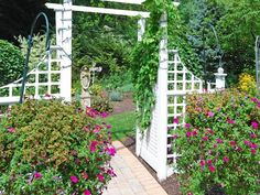 Colorful Garden and Classic White Archway