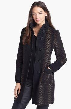 Via Spiga Knit Collar Wool Blend Topper | Nordstrom