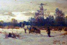 Julian Falat - Landscape, oil on canvas, Polish Museum of America, Chicago Art Academy, Various Artists, Painting Art, Impressionist, Poland, Oil On Canvas, Folk, Art Gallery, Ornament