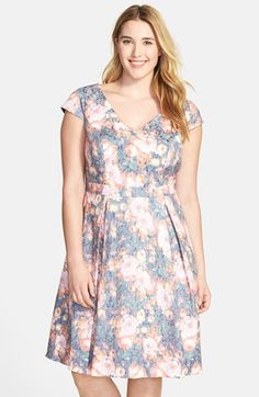 Adrianna Papell Floral Jacquard Fit & Flare Dress (Plus Size) available at #Nordstrom