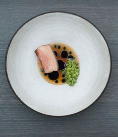 Pork belly with green gooseberries and spruce...NOMA Copenhagen