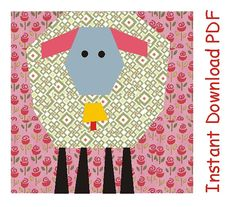 Spring lamb with bell quilt paper piecing Pattern block INSTANT DOWNLOAD PDF Bonus pattern