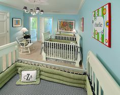 Nice blue-green twin nursery design. Traci Zeller Designs | Charlotte Interior Designs
