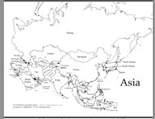 Outline Map Of Asia With Countries Labeled Blank For