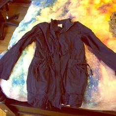 A jacket perfect for 50 - 60 F weather. Chic casual look.  Fits 0~4 (maybe even 6 as this is a loose fit) Jackets & Coats Utility Jackets
