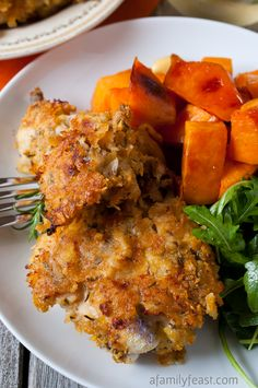 Oven Fried Rosemary Chicken - crushed corn flakes help give this oven fried rosemary chicken it's crispy coating.