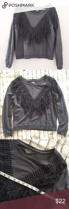Ecote UO large gray fringe boho sweatshirt Excellent condition!!! Super cute style Urban Outfitters Tops Sweatshirts & Hoodies