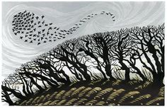 Niki Bowers - Winter Starlings, linocut