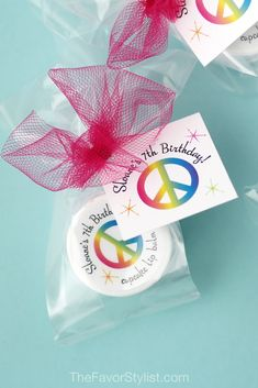 Looking for kids birthday party ideas? Our peace & rainbows lip balm favors come in kid-friendly flavors and can be personalized with your special message!