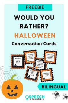 Would You Rather? Halloween language activity freebie - This speech and language activity is a great way to get kids to talk about Halloween with conversation cards. The packet includes conversation cards in English and Spanish, making it a perfect activity for bilingual speech therapy students. - Speech is Beautiful