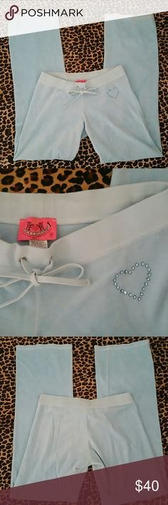 Juicy Couture Baby Blue Lounge Pants Extremely soft.   Gorgeous color and rhinestone heart detail  (see 2nd photo).  Stretch.   Drawstring waist.  You will live in these!  Matching jacket sold separately in my closet. Juicy Couture Pants