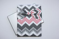 MacBook Pro / Air Case Laptop Sleeve - Gray Funky Chevron with Bow by AlmquistDesignStudio on Etsy