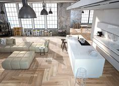 Loft in Old Street. Interior designed by Moretti Interior Design Ltd. Hotel Crillon, Loft Kitchen, Open Kitchen, Walnut Floors, Interior Architecture, Interior Design, Wall And Floor Tiles, Kitchen Flooring, Ceramic Flooring