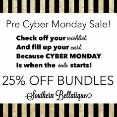 PRE CYBER MONDAY SALE CYBER MONDAY = 25% OFF BUNDLES  As your shopping for loved ones this holiday season, don't forget to leave a present or two or three under the tree for yourself.  Make sure you take advantage of this awesome limited time sale only at Southern Bellatique!   +++ Get DISCOUNTED shipping when I make you a single or bundle listing. See chart above. All orders over $100 get FREE shipping!  *Only exclusions include Kate Spade, Tory Burch, Vince Camuto, Joe's Booties, & the…