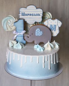 New Birthday Cake Fondant Boy Sweets Ideas Buttercream Cake, Fondant Cakes, Cupcake Cakes, Gateau Baby Shower Garcon, Drippy Cakes, New Birthday Cake, Elephant Cakes, Cakes For Boys, Savoury Cake