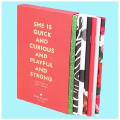 Kate Spade slipcase. She is Quick and Curious and Playful and Strong- a collection of short stories.