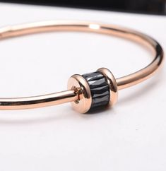 Finley Rose Gold Bangle Bracelet with Crystal - Pearl + Creek