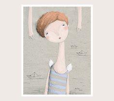 Jeune fille et la mer Art Print Art pariétal par FromAnPro sur Etsy