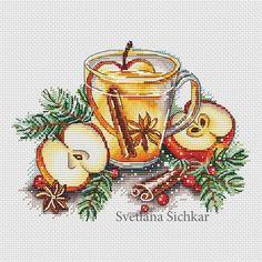 """Cross stitch design """"Apple tea"""" #sa_stitch #sa_pattern #pattern"""
