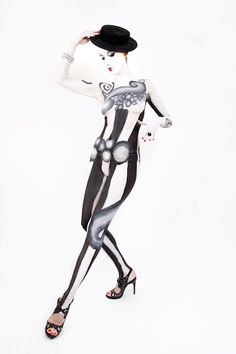 black and white body painting  Photo by Joni Louka.