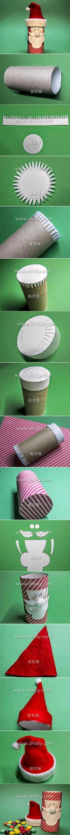 DIY CRAFT **Toilet paper rolls** Toilet Paper Roll Santa Claus , (Just a tip I would place the lollies in a bag) ,