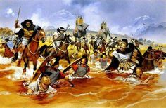 The Battle of Lake Trasimene (June 24, 217 BCE) was a major battle in the Second Punic War. The Carthaginians under Hannibal defeated the Romans under the consul Gaius Flaminius. The battle is one of the largest and most successful ambushes in military history. Artwork by Angus McBride