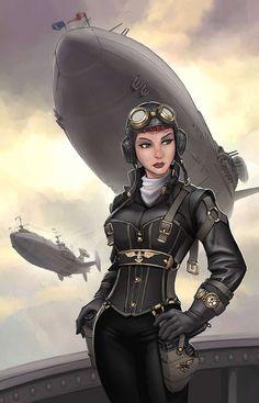"steam-fantasy: ""The Steam Queen aboard her airship. Illustration by Joe Wight, http://joewight.deviantart.com/art/Steamqueen-Cover-438310753 """